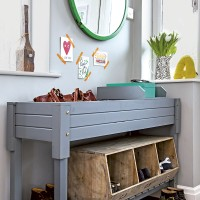 Modern grey hallway with upcycled painted storage