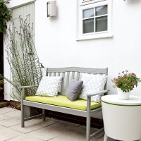 Grey and white patio with a pop of neon