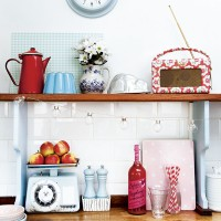 Kitchen shelf and worktop with vintage accessories
