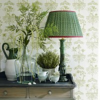 Fresh green hallway with botanical print wallpaper