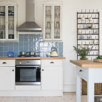 Modern white kitchen with coastal colour