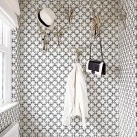 Cloakroom with monochrome patterned walls