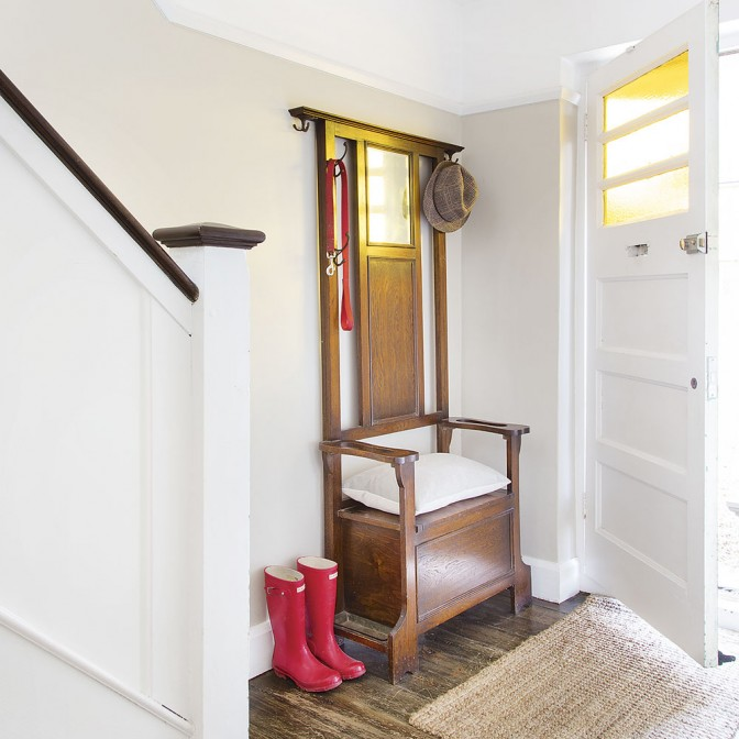 Light, airy hallway, with glass-topped front door