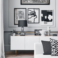 Graphic monochrome living room display
