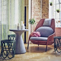 Garden-inspired textural living room