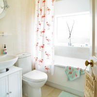 Bright and quirky bathroom with flamingo prints