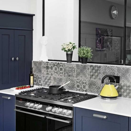 Heritage Blue Kitchen With Encaustic Tile Splashback