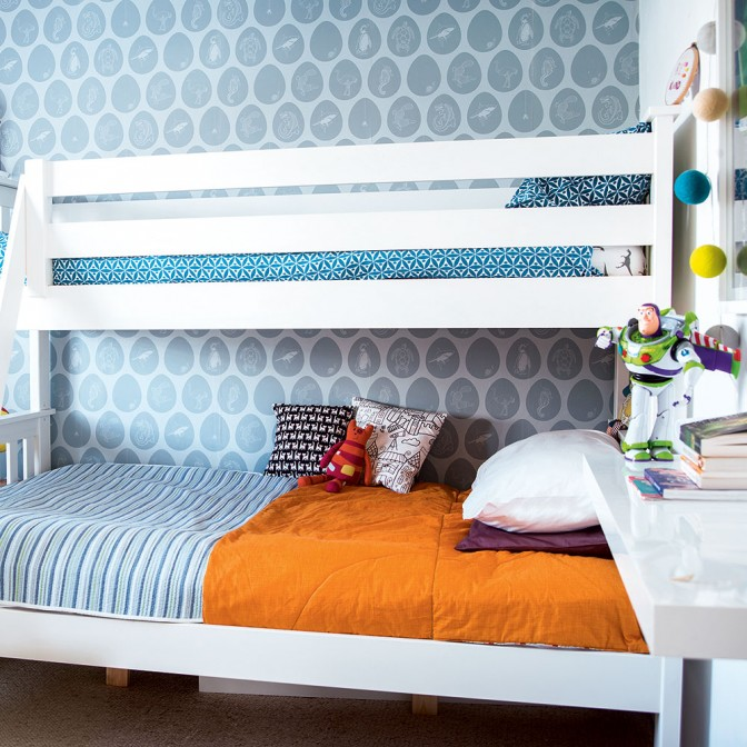 Calming blue children's room with bunk bed