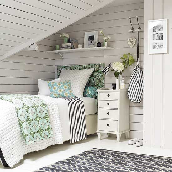 Bring The Shore Into Home With Beach Style Living Room: Beach House-style Attic Bedroom With Whitewashed Panelling