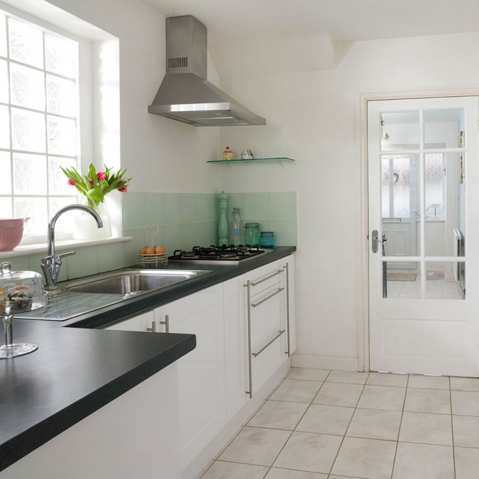 Modern family kitchen with pastel accents