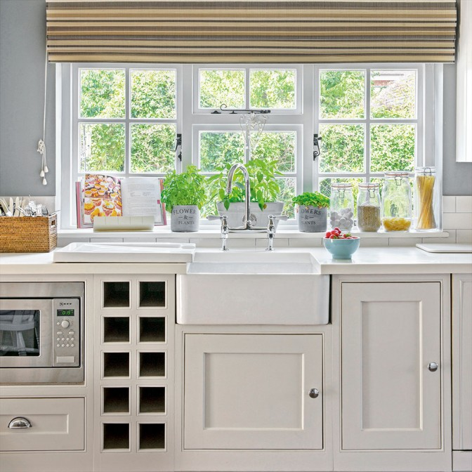 Classic white and grey wooden country kitchen