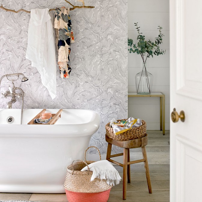 Pastel country bathroom with marbled wallpaper