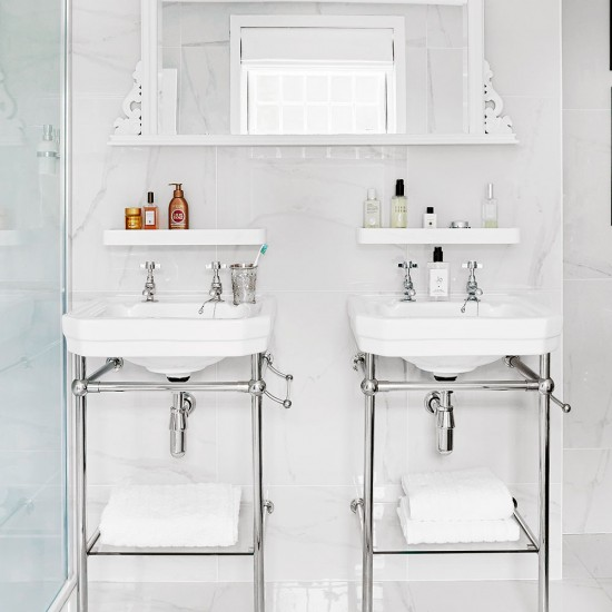 Fit shelves above and below a basin bathroom storage for Bathroom towel storage ideas uk