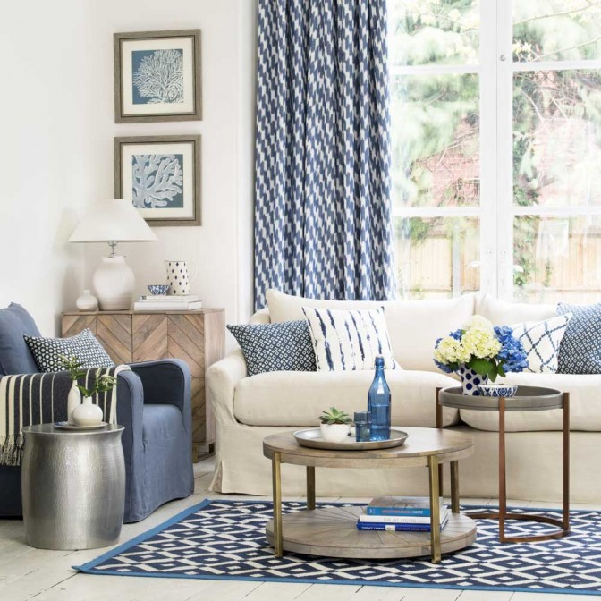 Ocean-inspired living room with patterned soft furnishings
