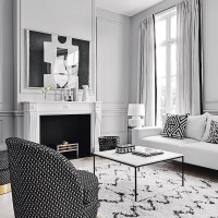 Chic monochrome living room with panelled walls