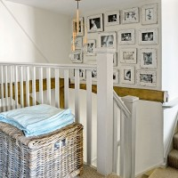 Country staircase with photo display