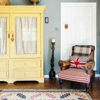Country living room with yellow dresser