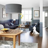 Modern living room with indigo soft furnishings