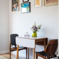 Retro dining area with drop-leaf table and chairs
