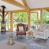 Country living room with woodburning stove