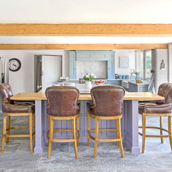 Open-plan Country Kitchen With Leather Bar Stools