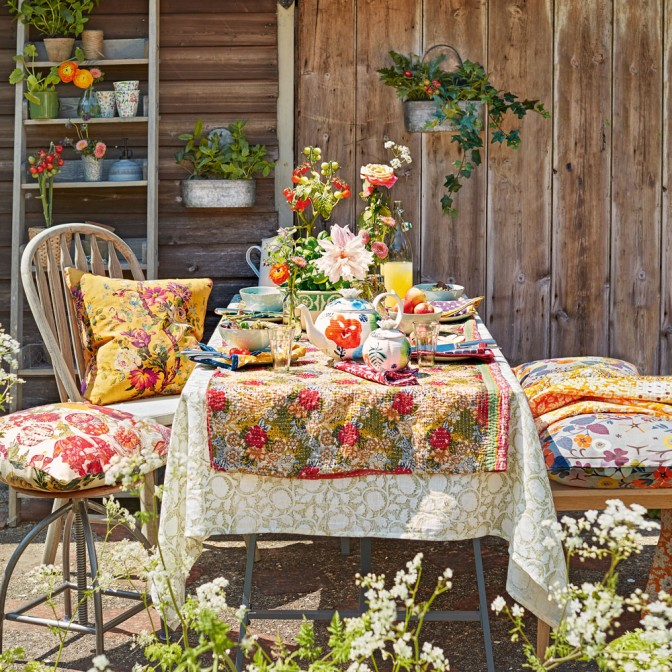 Colourful country garden dining area