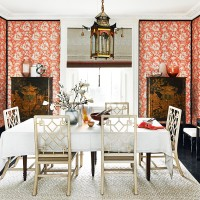 Oriental-style dining room with bright wallpaper