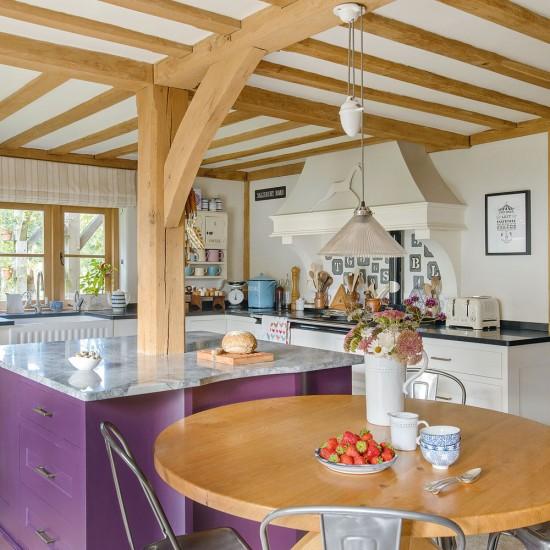 Country kitchen with purple island unit  housetohome co uk