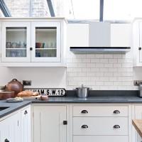 Modern white kitchen with metro tiles