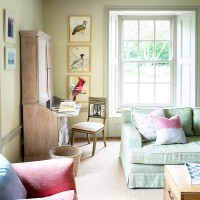 Traditional living room with pale green sofa