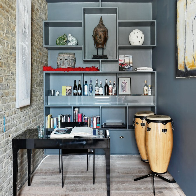 Bar and office area with smart shelving unit