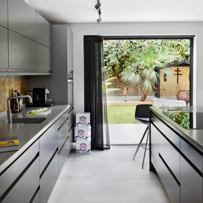 Kitchen with minimalistic cupboards