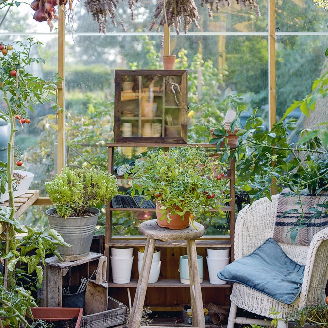 Country conservatory with rustic wood furniture
