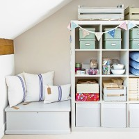 Craft room with pretty painted storage
