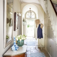 Traditional entrance hall with flagstone flooring
