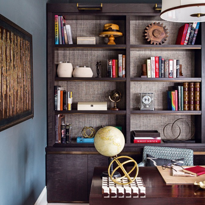 Sophisticated study with a bold bookshelf