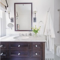 Monochrome bathroom with a marble surface