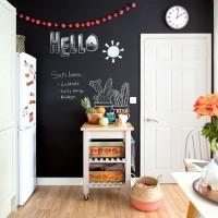 Modern kitchen with chalkboard wall