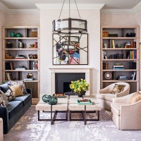 Classic living room with alcove bookcases