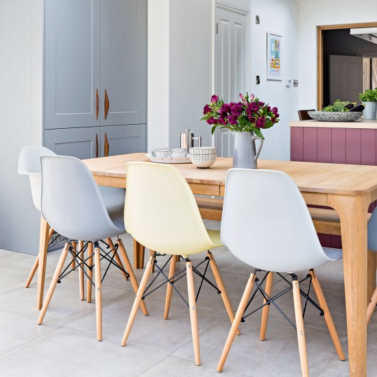 Pastel-coloured dining chairs | Check out this grey ...