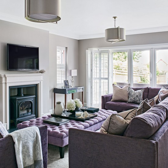 Light grey living room with lilac sofa housetohome co uk