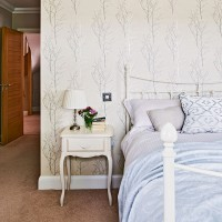 Classic neutral bedroom with willow wallpaper