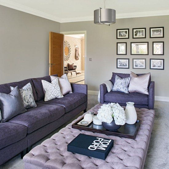 Modern Grey Living Room With Lilac Buttoned Footstool