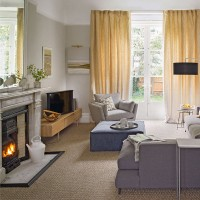 Traditional ivory and yellow living room