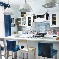 Modern kitchen with bold touches of blue