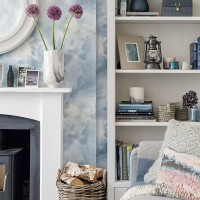 Modern blue living room with painted bookcase