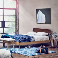 Navajo-inspired bedroom with blue accents