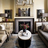 Fabric wall coverings in luxe sitting English sitting room