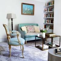 Elegant living room with duck-egg blue soft furnishings