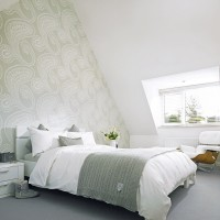 Modern bedroom with paisley wallpaper design